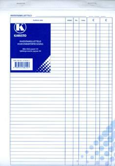 Inventaariluettelo A4 (50 lehteä/nide, jälj.pap.)