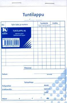 Tuntilappu A5 (10 kpl/pkt, 40 lehteä/nide, jäljentävä paperi)