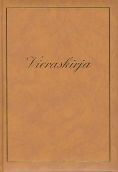Vieraskirja (B5, teksti+kehys, ruskea, pehmeäk., 288 sivua)