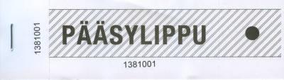 Pääsylippu valkoinen (100 lippua, 142x43 mm)