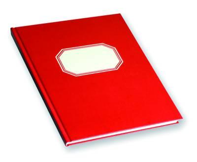 Konttorikirja (B5, ruutuviivainen 7x7, 288 sivua, punakantinen, valk. etiketti)