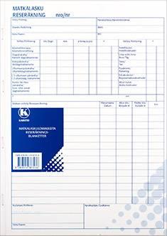 Matkalaskulomake A4 (10 kpl/pkt, viivoilla, 50 lehteä, jälj.pap)