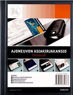 Ajoneuvon asiakirjakansio (A5, hopeanharmaa metalliväri)