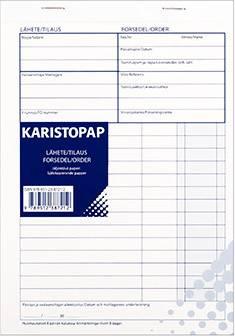 Lähete/tilauslomake A5 (10 kpl/pkt, viivoilla, 50 lehteä/nide, jälj.pap.)