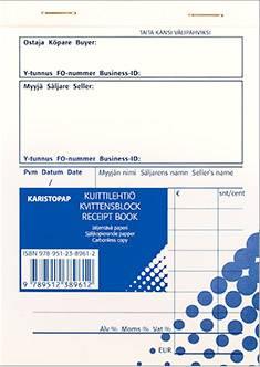 Kuittilehtiö A6 (10 kpl/pkt, 2x50 lehteä, numeroitu, jälj.paperi)