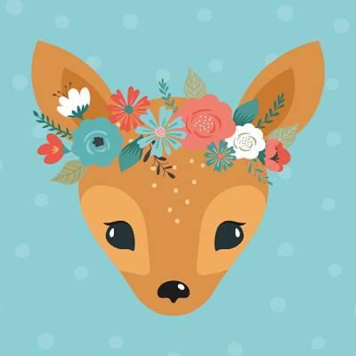 """Linnis erikoispostikortti """"Bambi"""", 14x14 cm, glitterlakkaus"""