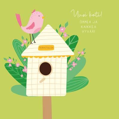 """Linnis erikoispostikortti """"Uusi koti"""", 14x14 cm, glitterlakkaus"""