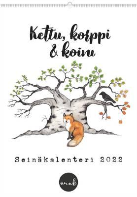 Kalenteri Kettu, korppi ja Koivu, Seinäkalenteri, Anu Kovalainen
