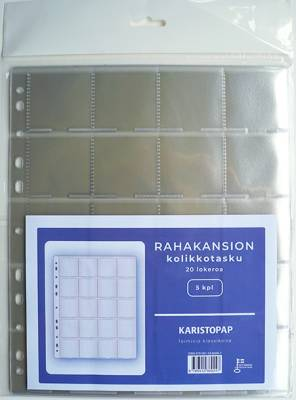Rahakansion kolikkotasku (5 kpl/pakkaus, 20 lokeroa)